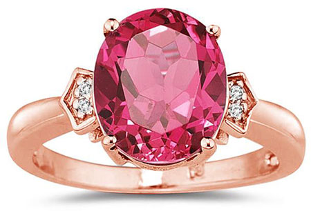 14K Rose Gold Pink Topaz and Diamond Ring