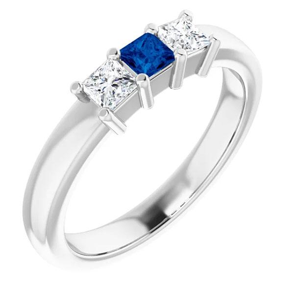 princess-cut diamond and sapphire 3-stone ring, 14k white gold