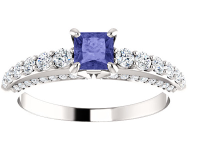 Princess-Cut Tanzanite and Diamond Engagement Ring in 14K White Gold