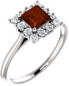 Princess-Cut Square Garnet and Diamond Halo Ring, 14K White Gold