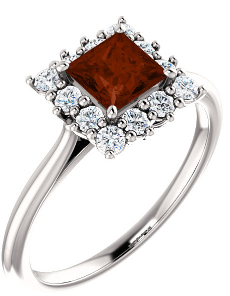 Princess-Cut Garnet Halo Ring in Sterling Silver