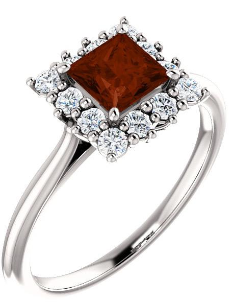 Princess-Cut Garnet Halo Ring in Sterling Silver