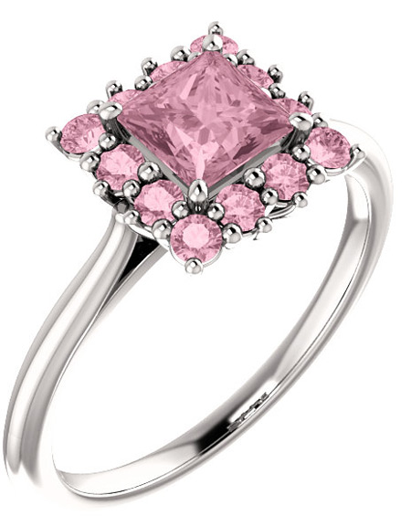 Baby Pink Topaz Square Princess-Cut Halo Ring, 14K White Gold