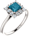 London Blue Topaz Princess-Cut and Diamond Halo Ring, 14K White Gold