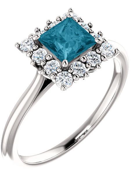 Sterling Silver London Blue Topaz Princess-Cut Halo Ring
