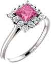 Baby Pink Sapphire Princess-Cut Diamond Halo Ring, 14K White Gold