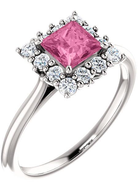 Baby Pink Sapphire Princess-Cut Diamond Halo Ring, 14K White Gold
