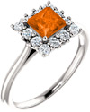 Poppy-Orange Topaz Diamond Halo Ring, 14K White Gold