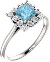 Princess-Cut Aquamarine Halo Ring in Sterling Silver