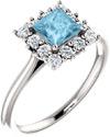 Princess-Cut Aquamarine Halo Ring in Sterling Silver