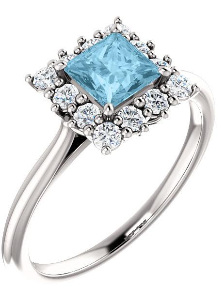 Princess-Cut Aquamarine and Diamond Halo Ring, 14K White Gold