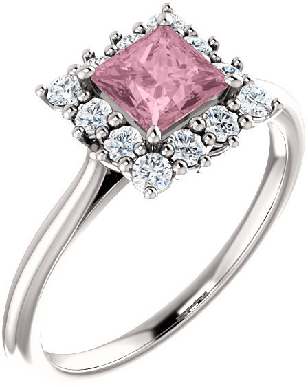 Baby Pink Topaz Princess-Cut Halo Ring Crafted in Sterling Silver