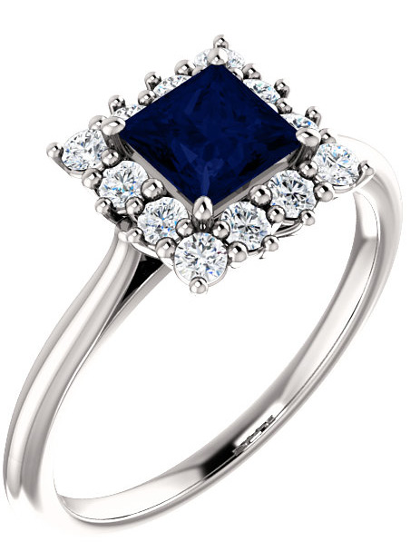 Princess-Cut Blue Sapphire and Diamond Halo Ring