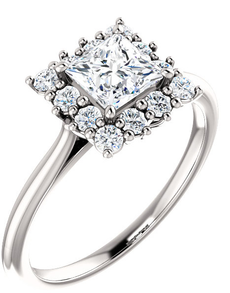 Square Princess-Cut Moissanite Halo Ring, 14K White Gold
