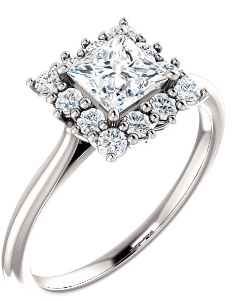 WHITE TOPAZ PRINCESS-CUT HALO RING IN 14K WHITE GOLD