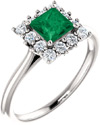 Rainforest Green Topaz Princess-Cut Ring in Sterling Silver