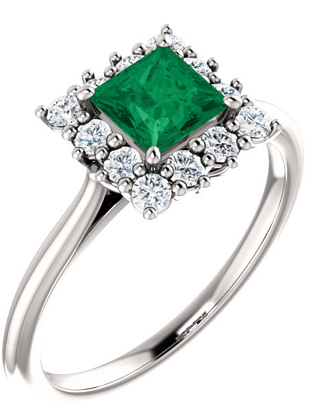 Rainforest Green Princess-Cut Topaz Diamond Halo Ring