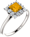Golden Yellow Citrine Princess-Cut Halo Ring, Sterling Silver