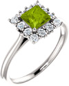 Sea-Glass Green Peridot Princess-Cut Halo Ring in Sterling Silver