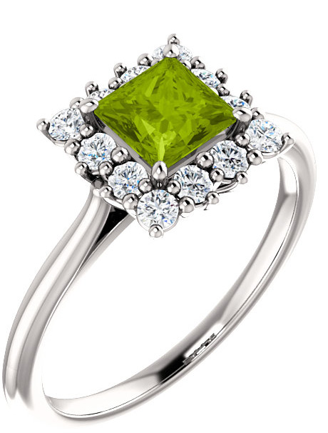 Square Green Peridot Princess-Cut Diamond Halo Ring