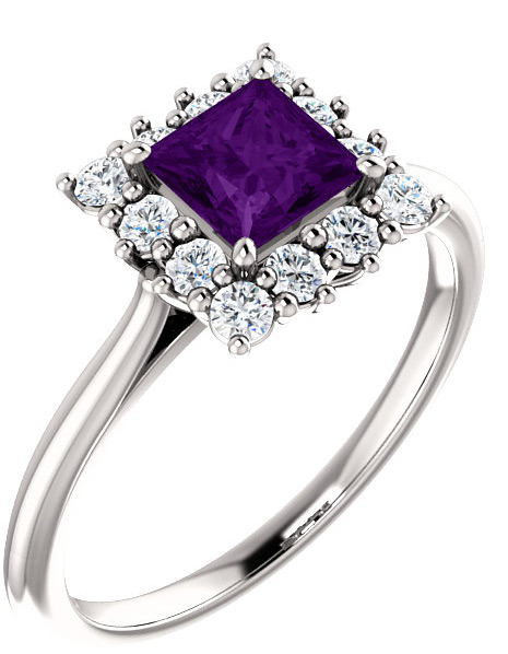 Square Princess-Cut Purple Amethyst and Diamond Halo Ring