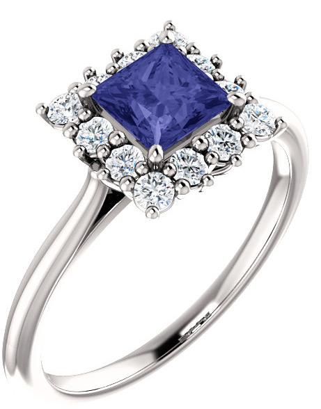 Square Princess-Cut Violet Tanzanite Diamond Halo Ring 40f6be8b89