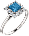 Swiss-Blue Princess-Cut Topaz and Diamond Halo Ring