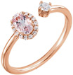 14K Rose Morganite Open 2-Stone and Diamond Ring