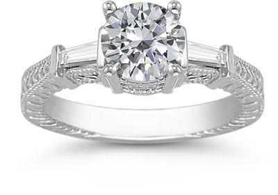 Moissanite and Baguette Diamond Engraved Engagement Ring, 14K White Gold