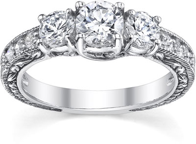 1 Carat Antique-Style Three Stone Diamond Engagement Ring, 14K White Gold