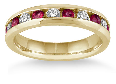 3/4 Carat Ruby and 1/2 Diamond Band, 14K Gold
