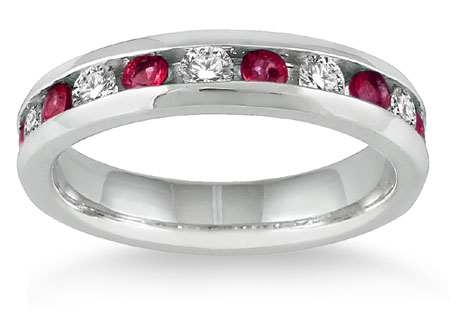 3/4 Carat Ruby with 1/2 Carat Diamond Band, 14K White Gold