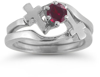 Ruby Cross Wedding Ring and Bridal Engagement Set, 14K White Gold