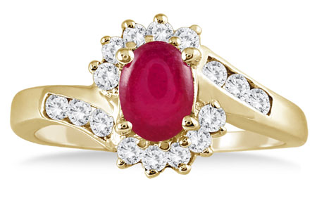 1 Carat Ruby Diamond Flower Twist Ring, 14K Gold
