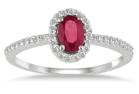 Ruby Diamond Halo Ring, 10K White Gold