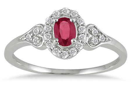 Ruby Vintage-Style Diamond Ring, 10K White Gold