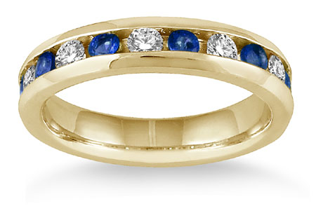 3/4 Carat Sapphire Diamond Band Ring, 14K Gold