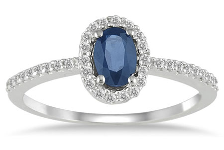 Sapphire Diamond Halo Ring, 10K White Gold