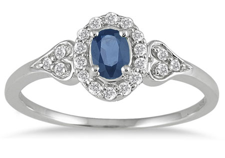Sapphire Vintage-Style Halo Engagement Ring, 10K White Gold