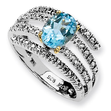 Sky Blue Topaz and Diamond Wrap Ring in Sterling Silver
