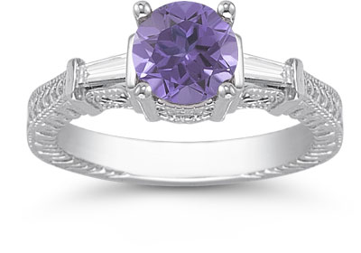 Tanzanite and Baguette Diamond Engagement Ring, 14K White Gold