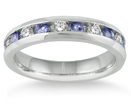 3/4 Carat Tanzanite with 1/2 Carat Diamond Band, 14K White Gold