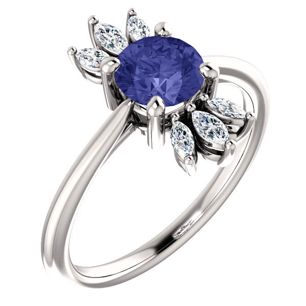 Tanzanite and Marquise Petal Diamond Ring in 14K White Gold