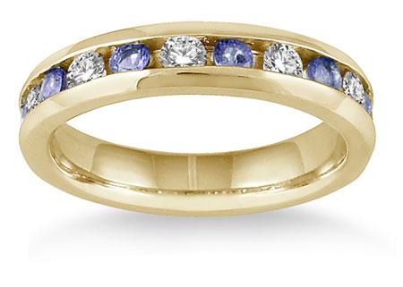 3/4 Carat Tanzanite Diamond Band Ring, 14K Gold