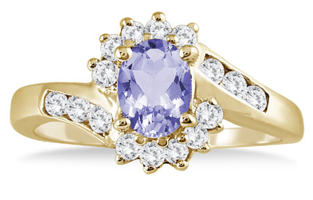 1 Carat Tanzanite Diamond Flower Twist Ring, 14K Gold