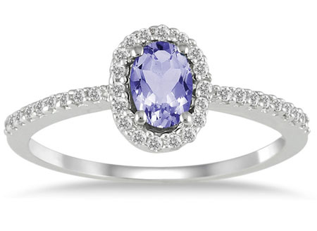 Tanzanite Diamond Halo Ring, 10K White Gold