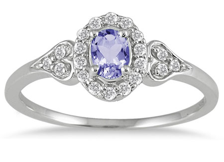 Tanzanite Vintage-Style Diamond Ring, 10K White Gold