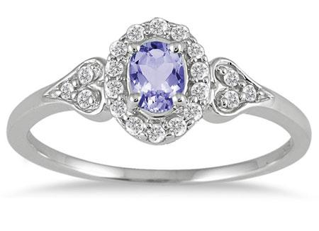 Tanzanite Vintage-Style Diamond Ring, 10K White Gold