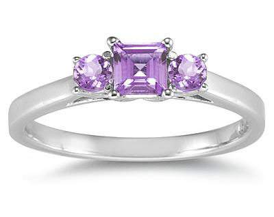 Three-Stone Amethyst Ring in 14K White Gold