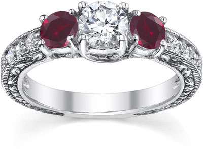 Ruby and Diamond Floret Engagement Ring, 14K White Gold
